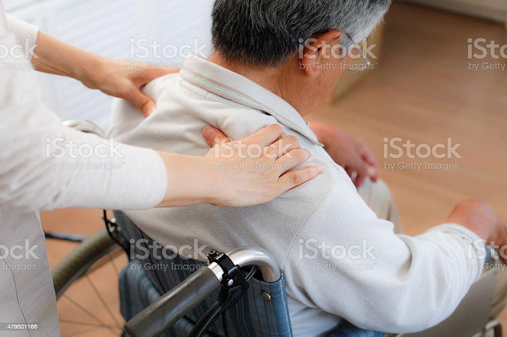 Shoulder massage stock photo