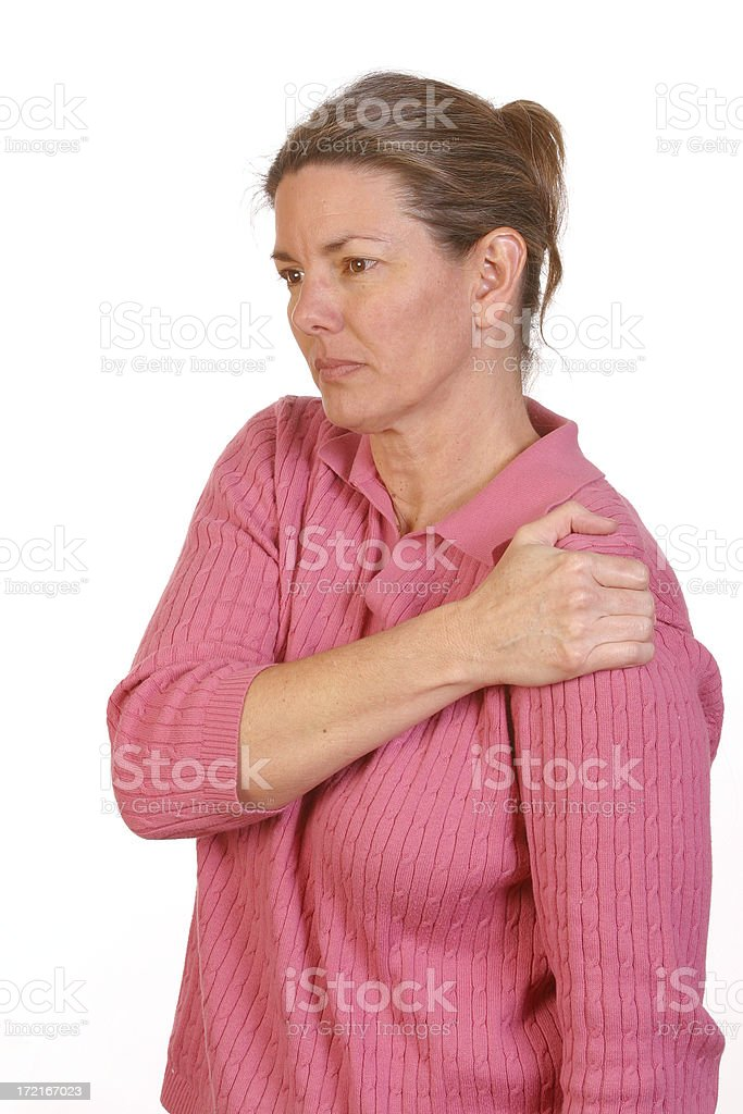 Shoulder pain - REQUEST royalty-free stock photo