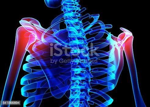 istock Shoulder painful skeleton x-ray, 3D illustration. 541566894