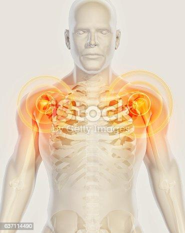 istock Shoulder painful skeleton x-ray, 3D illustration. 637114490