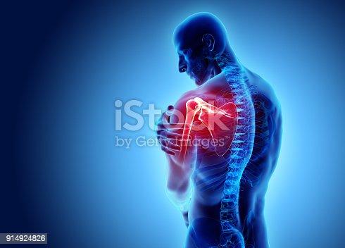 istock Shoulder painful skeleton x-ray, 3D illustration. 914924826