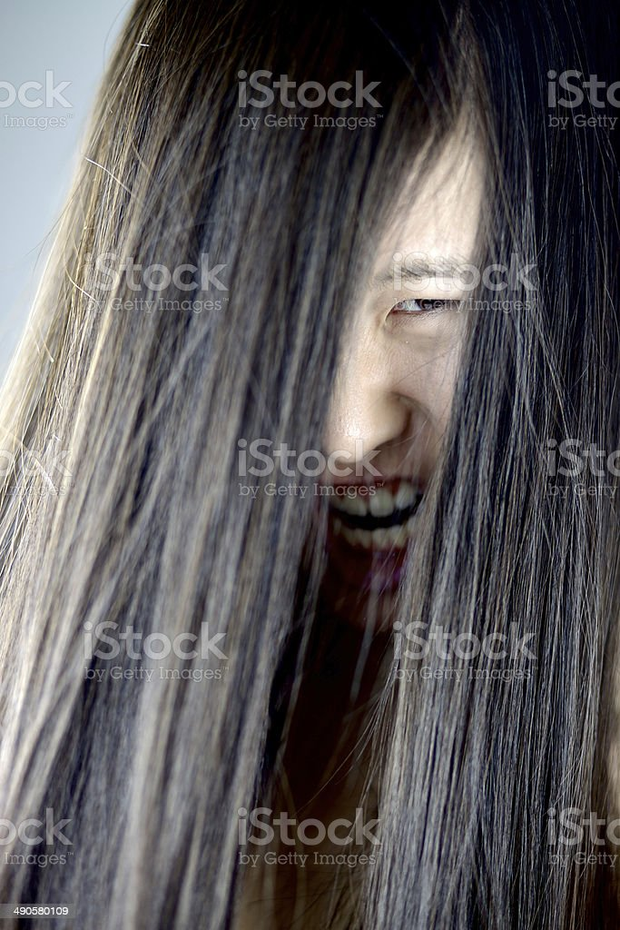 Girl long ugly hair with Qing dynasty
