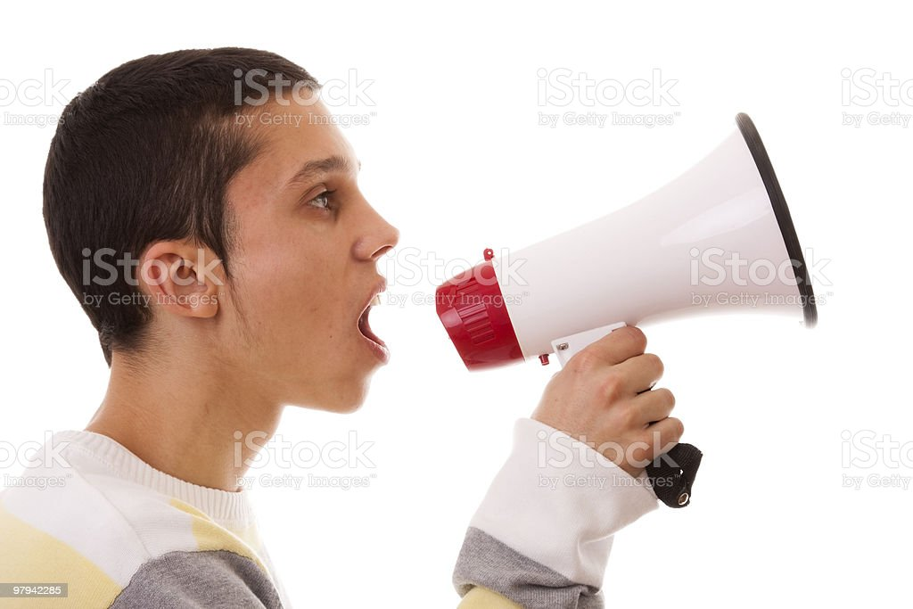 shouting at the megaphone royalty-free stock photo