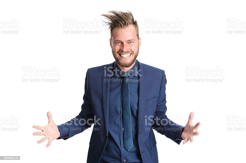 Shouting businessman in a blue suit stock photo
