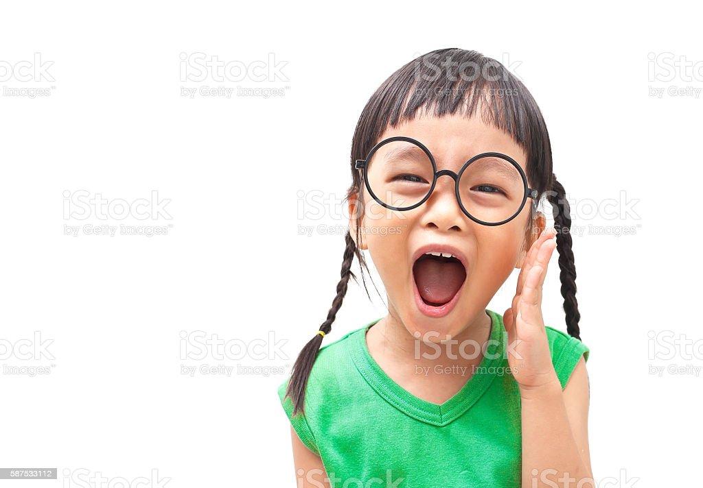 Shouting girl stock photo