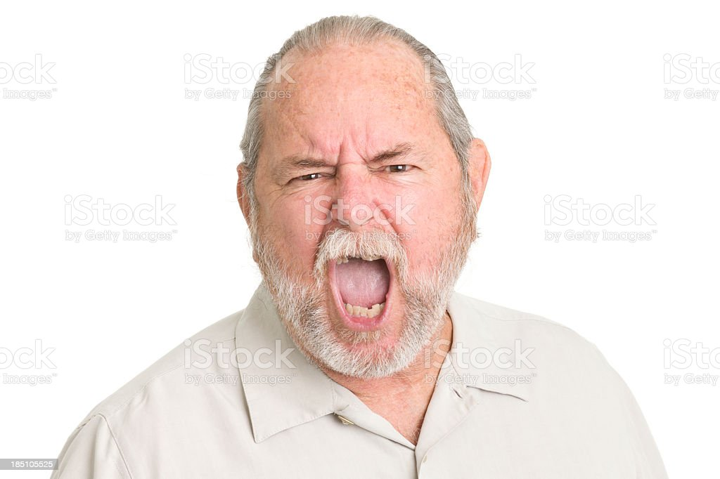 Shouting Senior Man stock photo
