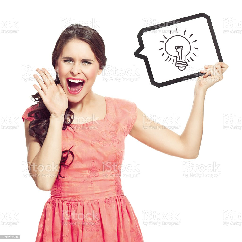 Shouting woman with speech bubble royalty-free stock photo