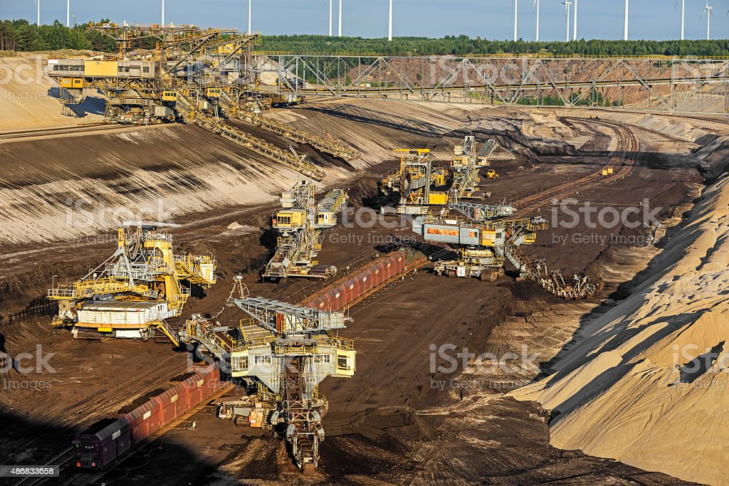 Shovel and coal excavator in a brown coal mine. stock photo