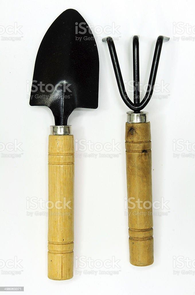 shovel and gardening fork stock photo
