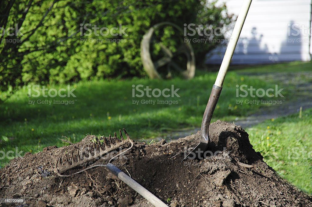 Shovel and rake in a pile of dirt royalty-free stock photo