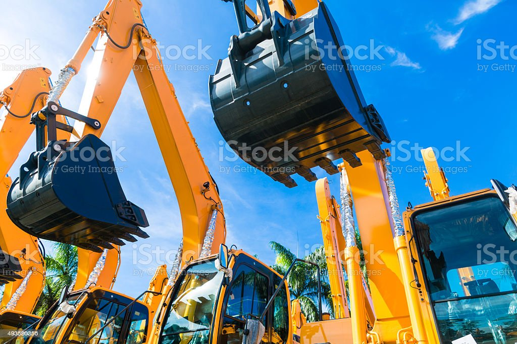 Shovel excavator on Asian  rental company site stock photo
