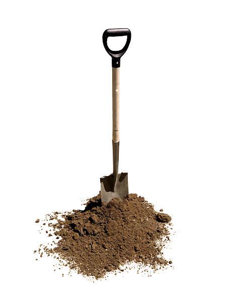 shovel in heap of dirt - 鏟 個照片及圖片檔