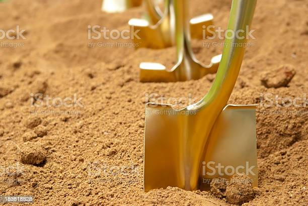 """""""Gold shovels stuck in the dirt, in preparation of a groundbreaking ceremony"""""""