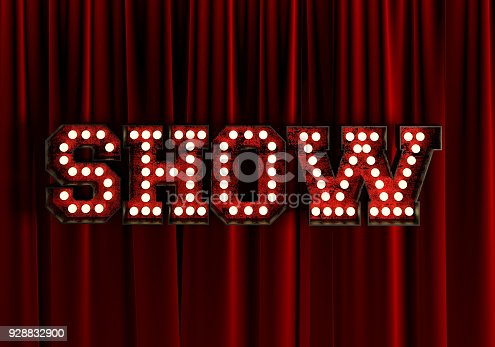 939154550 istock photo Show In front Of Red Theater Curtain. 3d Rendering. 928832900