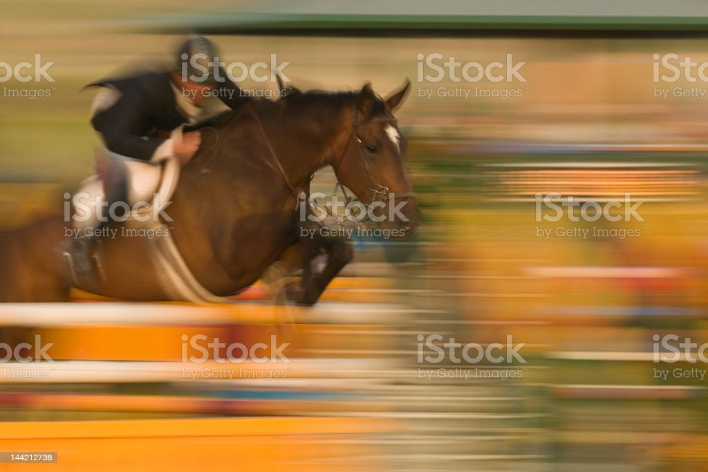 A show jumper jockey and a horse clearing a high jump stock photo