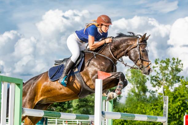 hoppning - häst med kvinnliga ryttare hoppar över hindret - hästhoppning bildbanksfoton och bilder