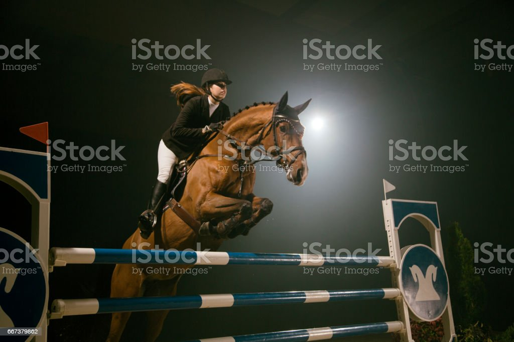 Show jumping stock photo