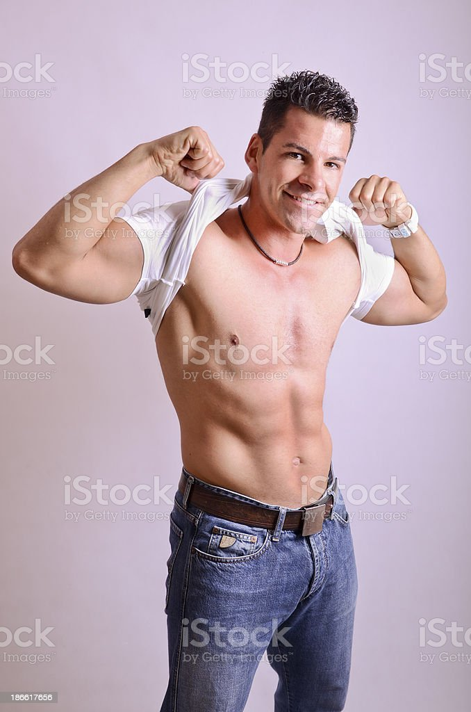 Show me the abs! stock photo