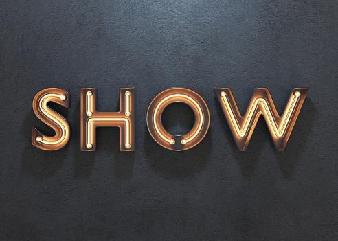 Show neon sign on dark background.