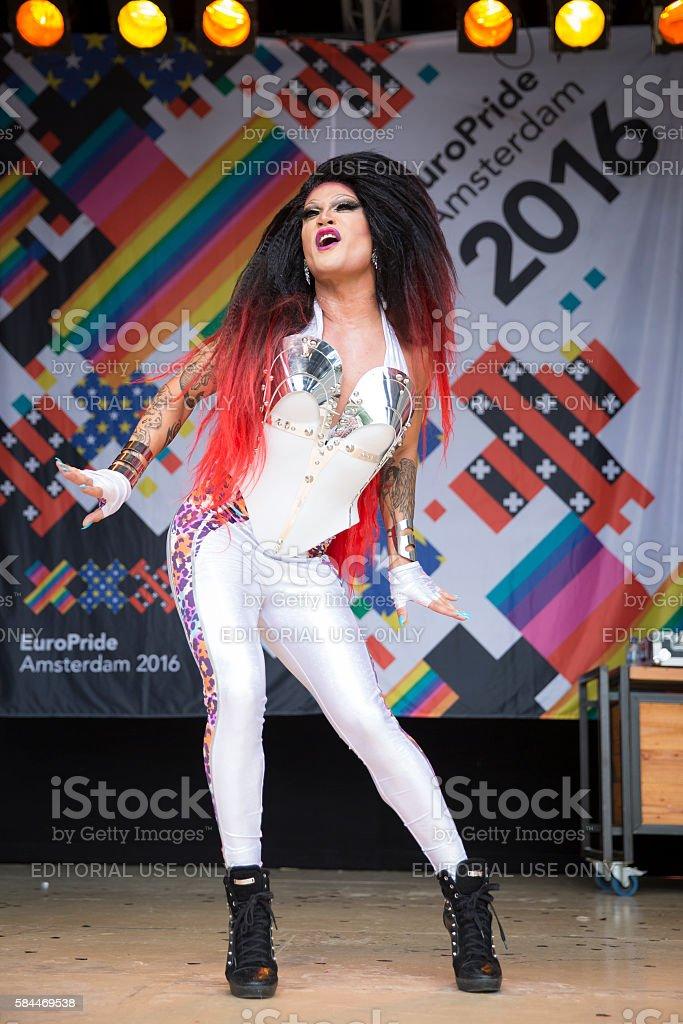 show of drag queen Donna Ray Jones, Vondelpark Amsterdam stock photo