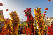Show of lion or dragon dance  at Pagoda, China Town