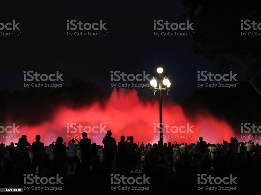 show of singing fountains,  Barcelona stock photo