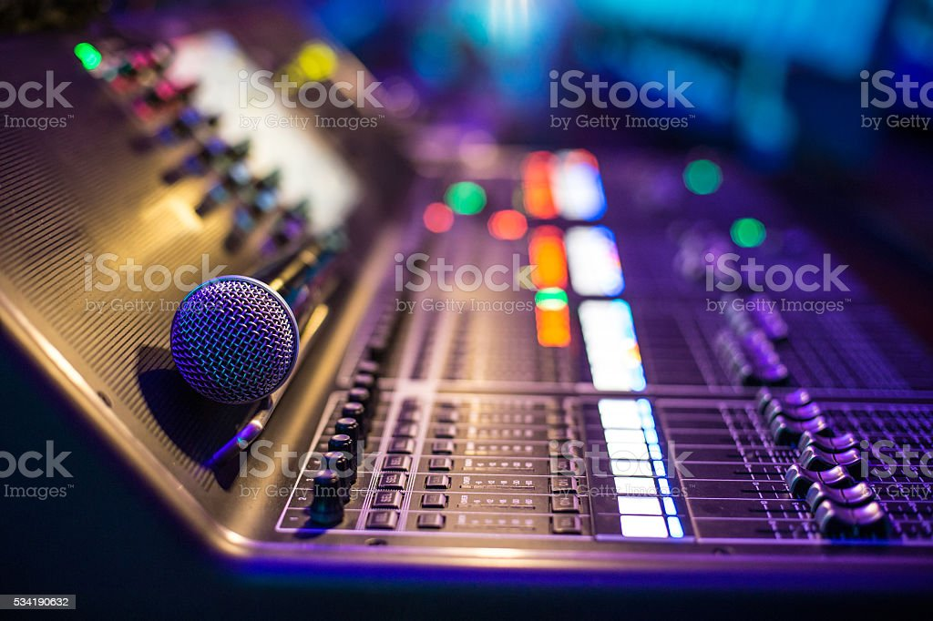 Show sound controller with microphone stock photo