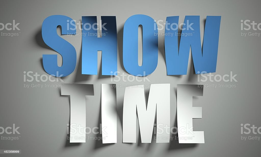Show time cut from paper on background stock photo