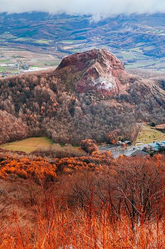 Showa Shinzan Bergwald Im Urly Winter Mit Herbst Laub Gelb Baum Luftaufnahme Vom Usuzan Berg Stockfoto und mehr Bilder von Aktiver Vulkan