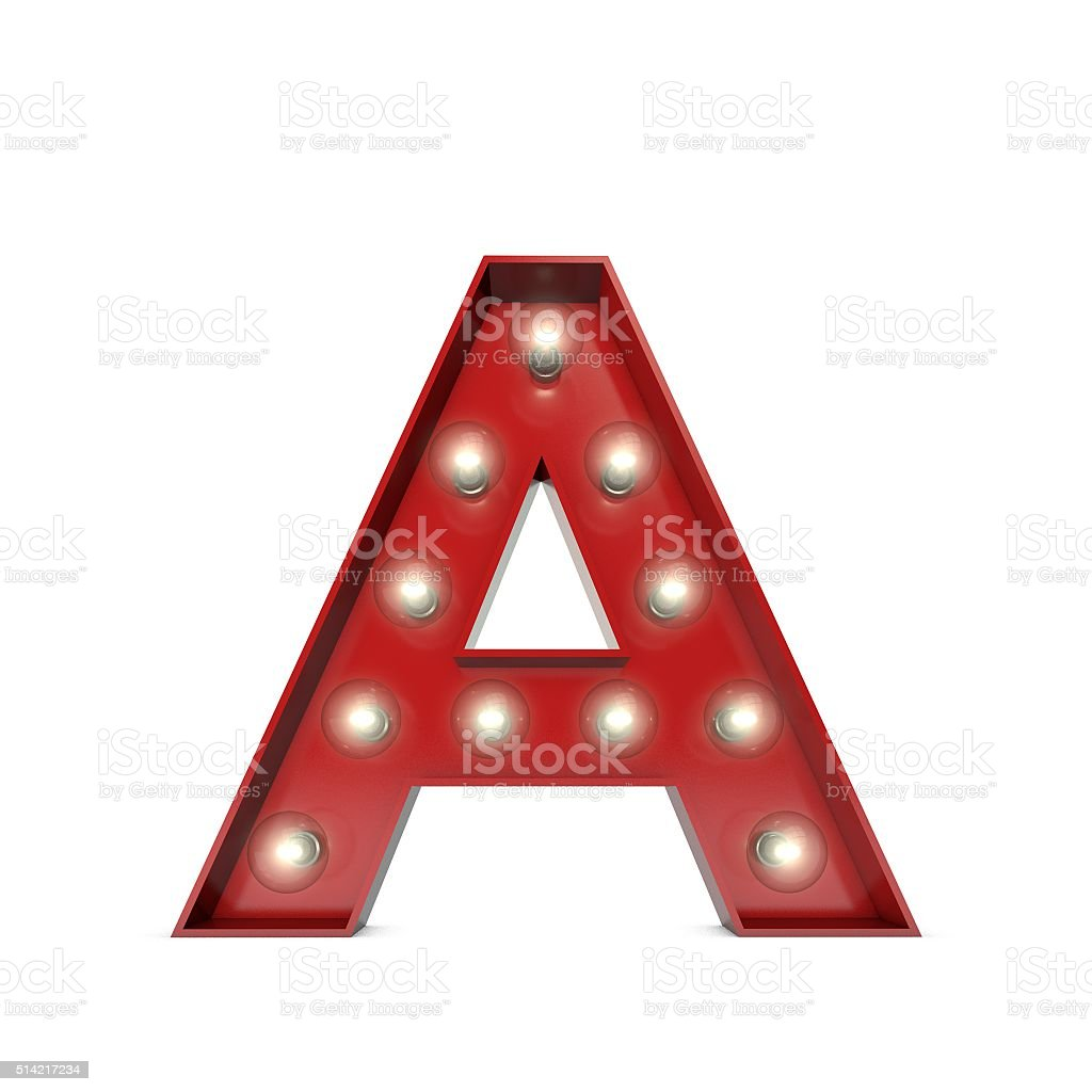 Showbiz cinema movie theatre illuminated letter A stock photo