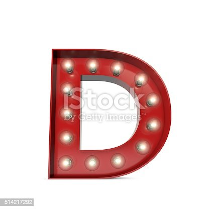 Showbiz style capital letter on a plain white background. The Letter is red with illuminated glowing lightbulbs. The style of the letter is a retro movie theatre design.