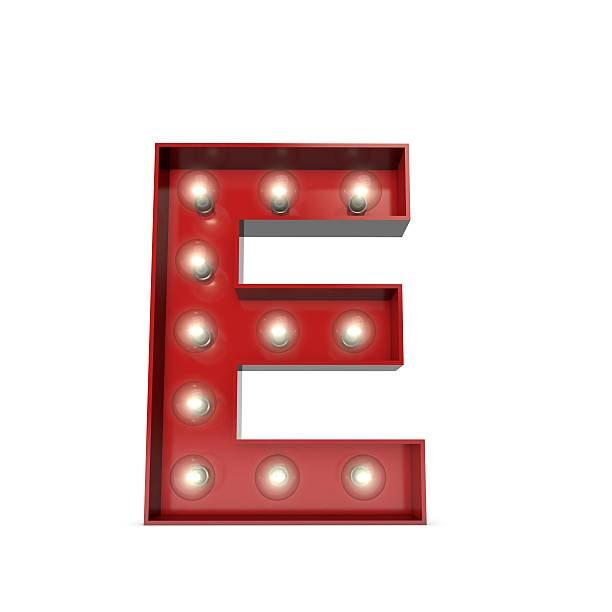 Showbiz cinema movie theatre illuminated letter E stock photo