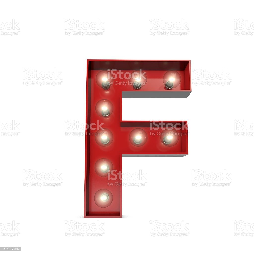 Showbiz cinema movie theatre illuminated letter F stock photo