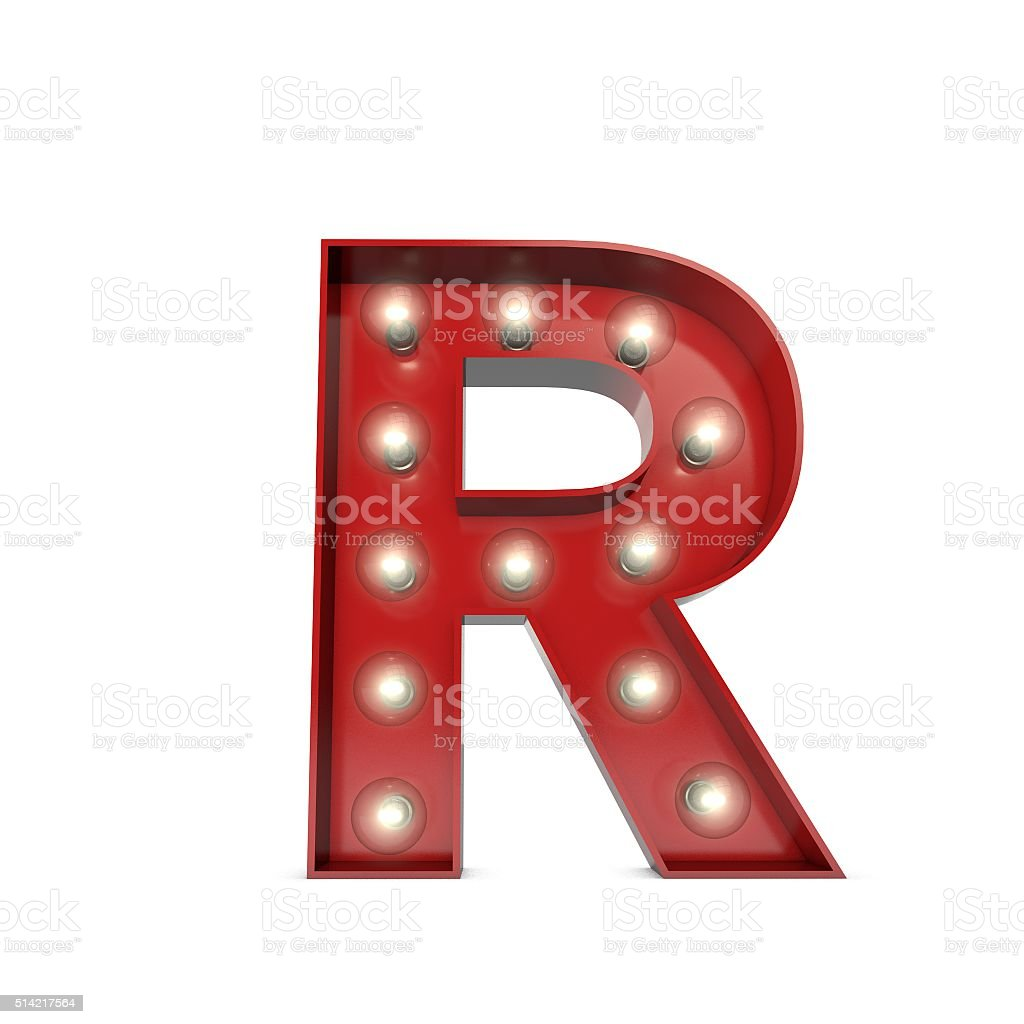 Showbiz cinema movie theatre illuminated letter R stock photo
