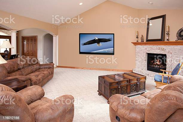 Showcase Home Living Room With Hdtv And Fire Place Stock Photo Download Image Now Istock