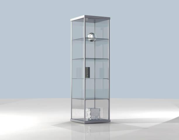 präsentieren im zimmer - vitrinenschrank stock-fotos und bilder