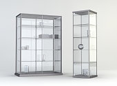 3D room with  showcases