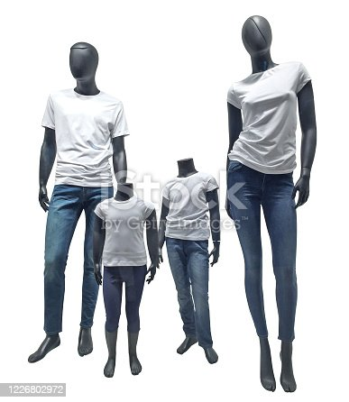Showcase family dolls on white background with clipping path. Ideal family dolls.