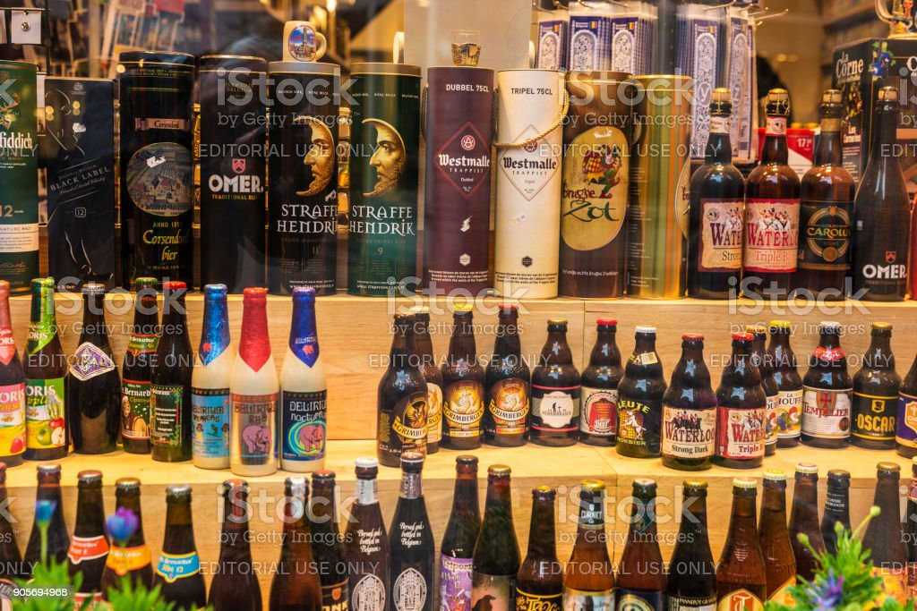 Showcase of a beer and liqueur store in Bruges, Belgium stock photo