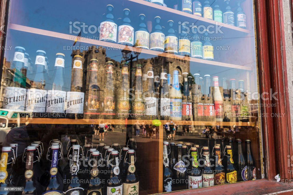 Showcase of a beer store in Ghent, Belgium stock photo