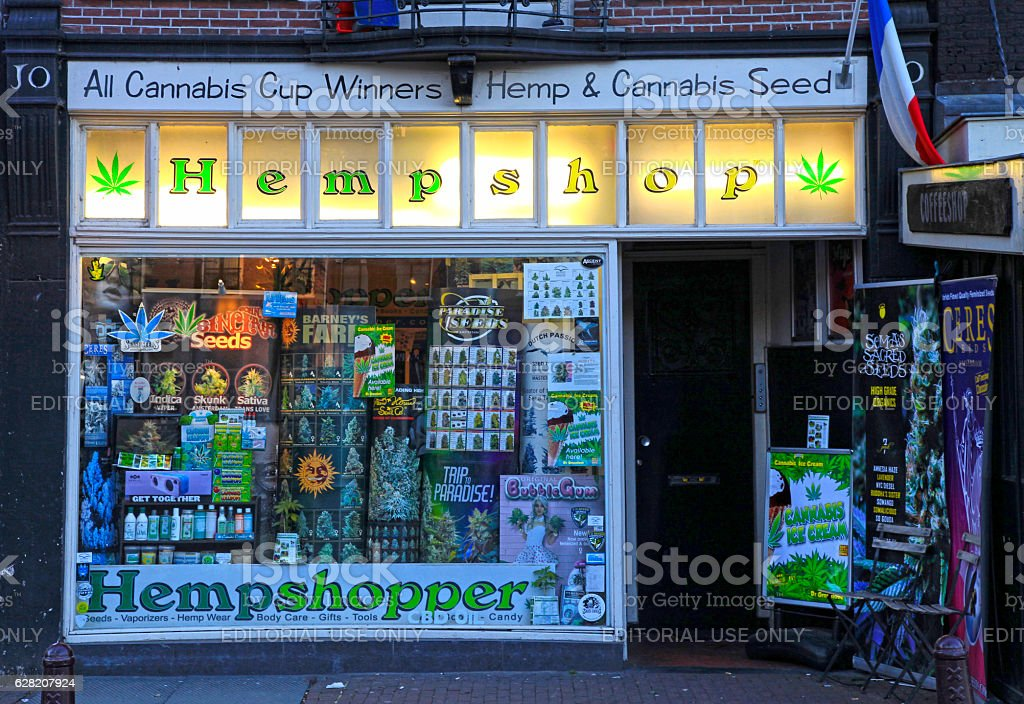 Showcase of cannabis shop, Amsterdam Amsterdam, Netherlands - May 3, 2016: Showcase of cannabis shop located in old center of Amsterdam, Netherlands Addiction Stock Photo