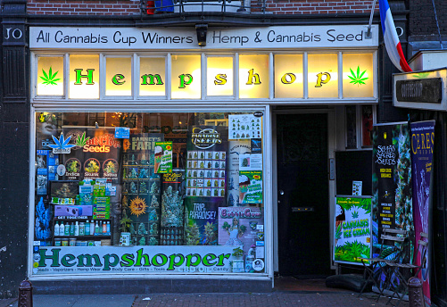 Showcase Of Cannabis Shop Amsterdam Stock Photo - Download Image Now