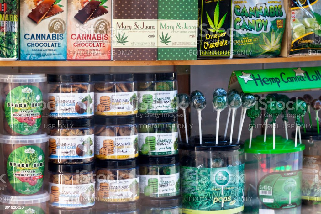 Showcase of cannabis shop in Amsterdam stock photo