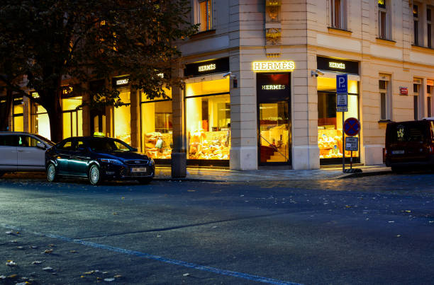 Showcase of Hermes shop at Parizska street, one of the most popular shopping district in Prague stock photo