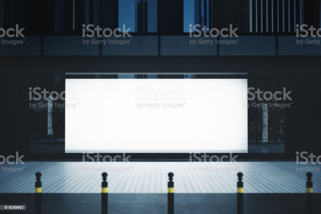 Showcase with empty banner stock photo