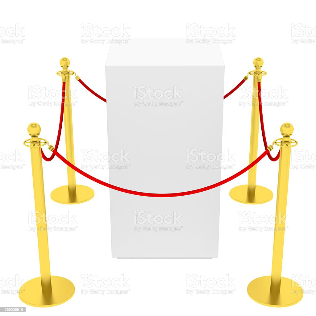 Showcase with tiled stand barriers for exhibit royalty-free stock photo