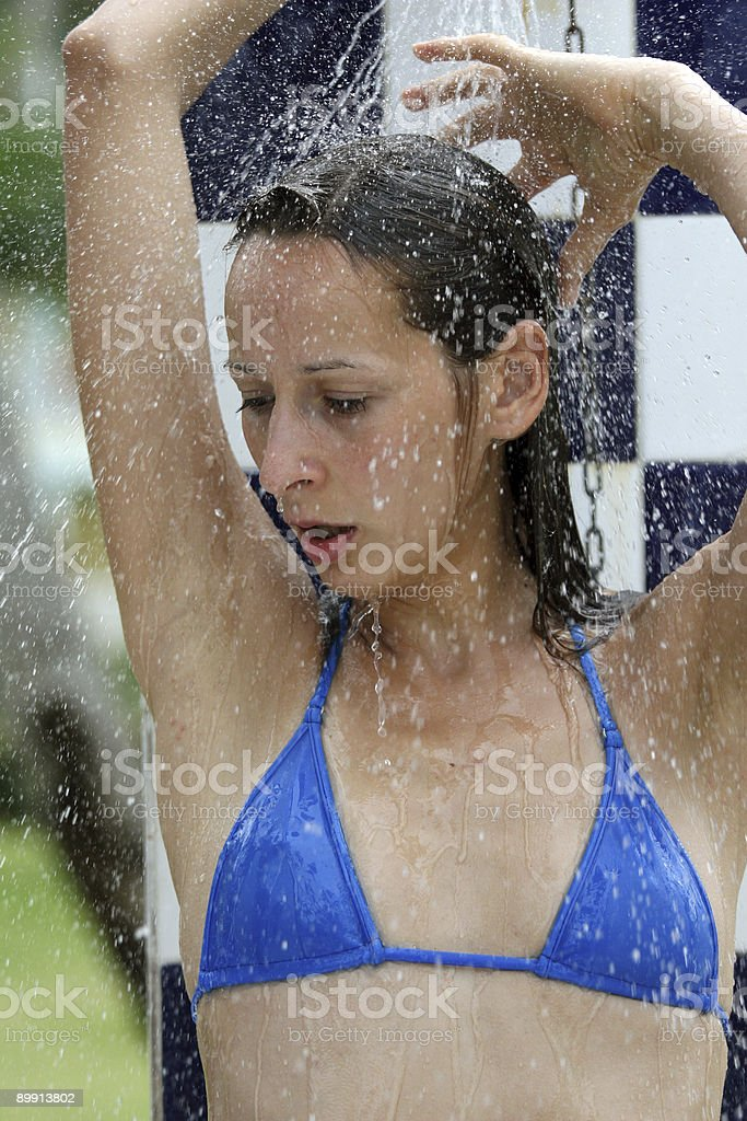 Shower after sunbath royalty-free stock photo