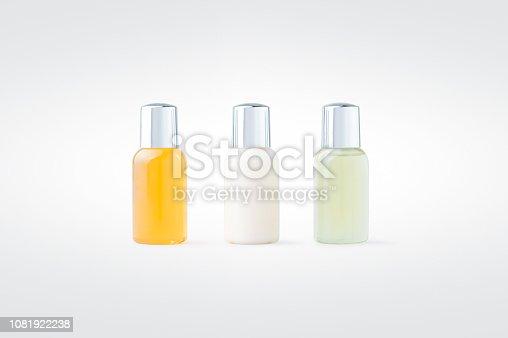 Shower gel, shampoo and body lotion isolated on background. Hotel amenity kit