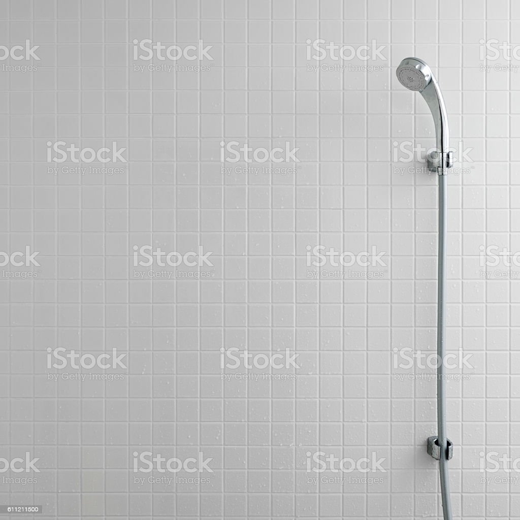 shower head in bathroom stock photo