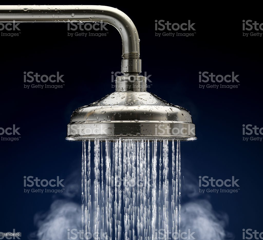 Shower Head with water droplets and steam, isolated stock photo